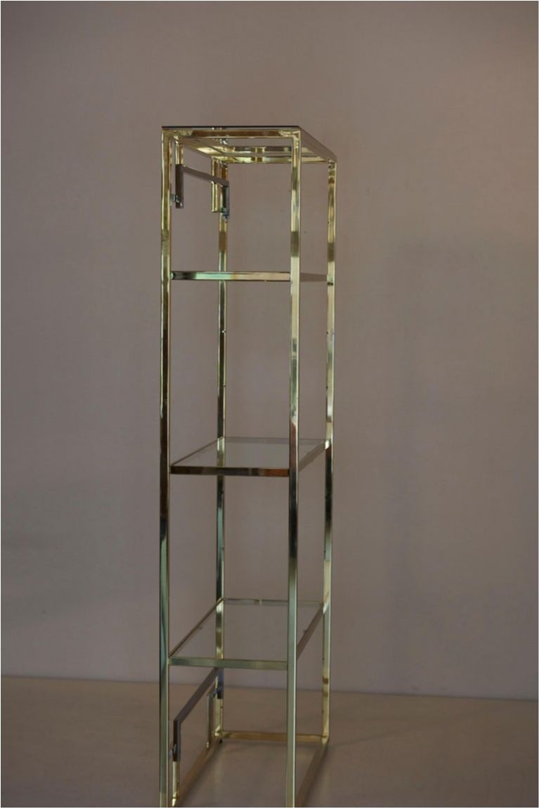 1 Of 2 Brass And Gold Plated Bookshelf Or Etagere Attributed