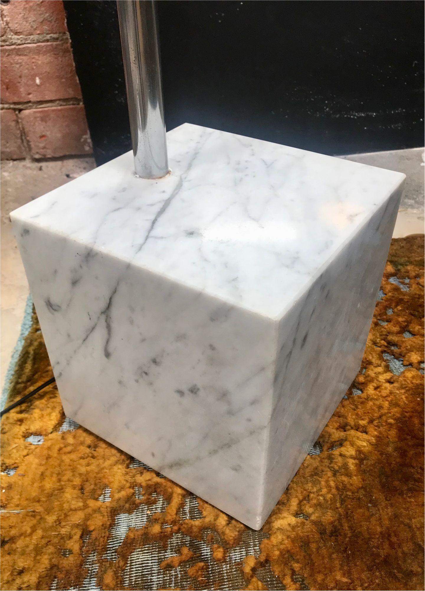 Mid Century Chrome Arc Floor Lamp With Carrara Marble Base Italy 1960s