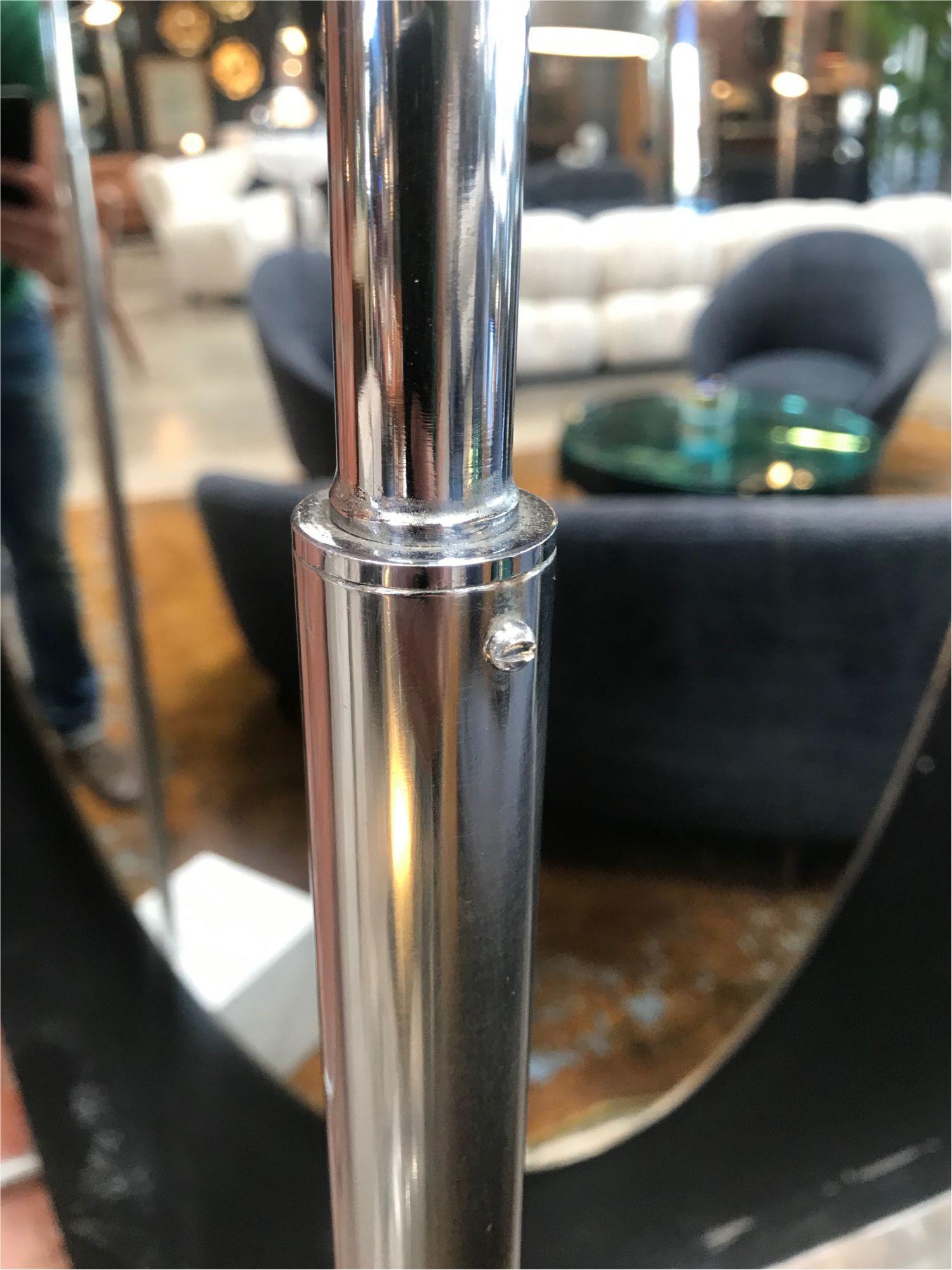 Mid Century Chrome Arc Floor Lamp With Carrara Marble Base