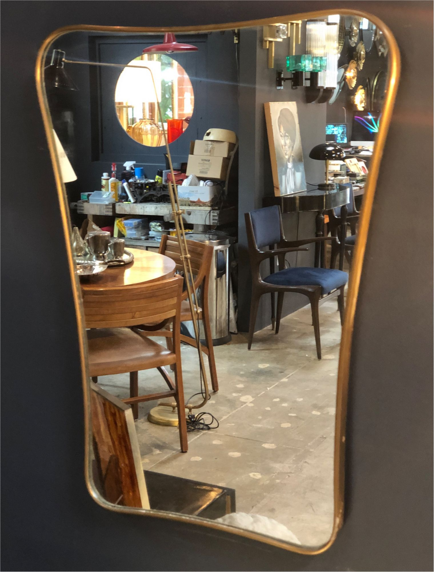 Midcentury Wall Mirror Brass Frame Minimal And Sculptural Design 1950s