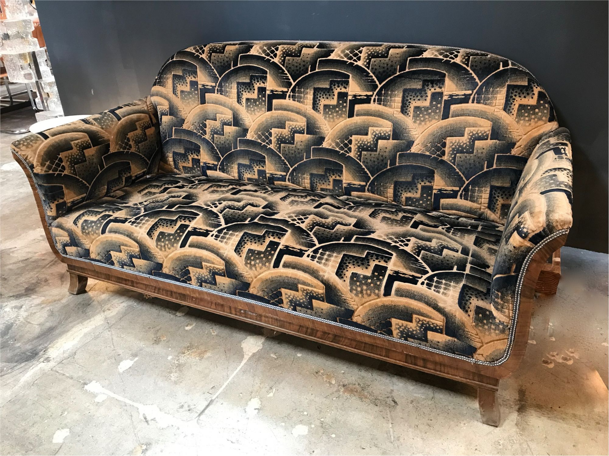 Glamorous Art Deco Sofa And Two Chairs Suite In Cotton Velvet Italy 1920s