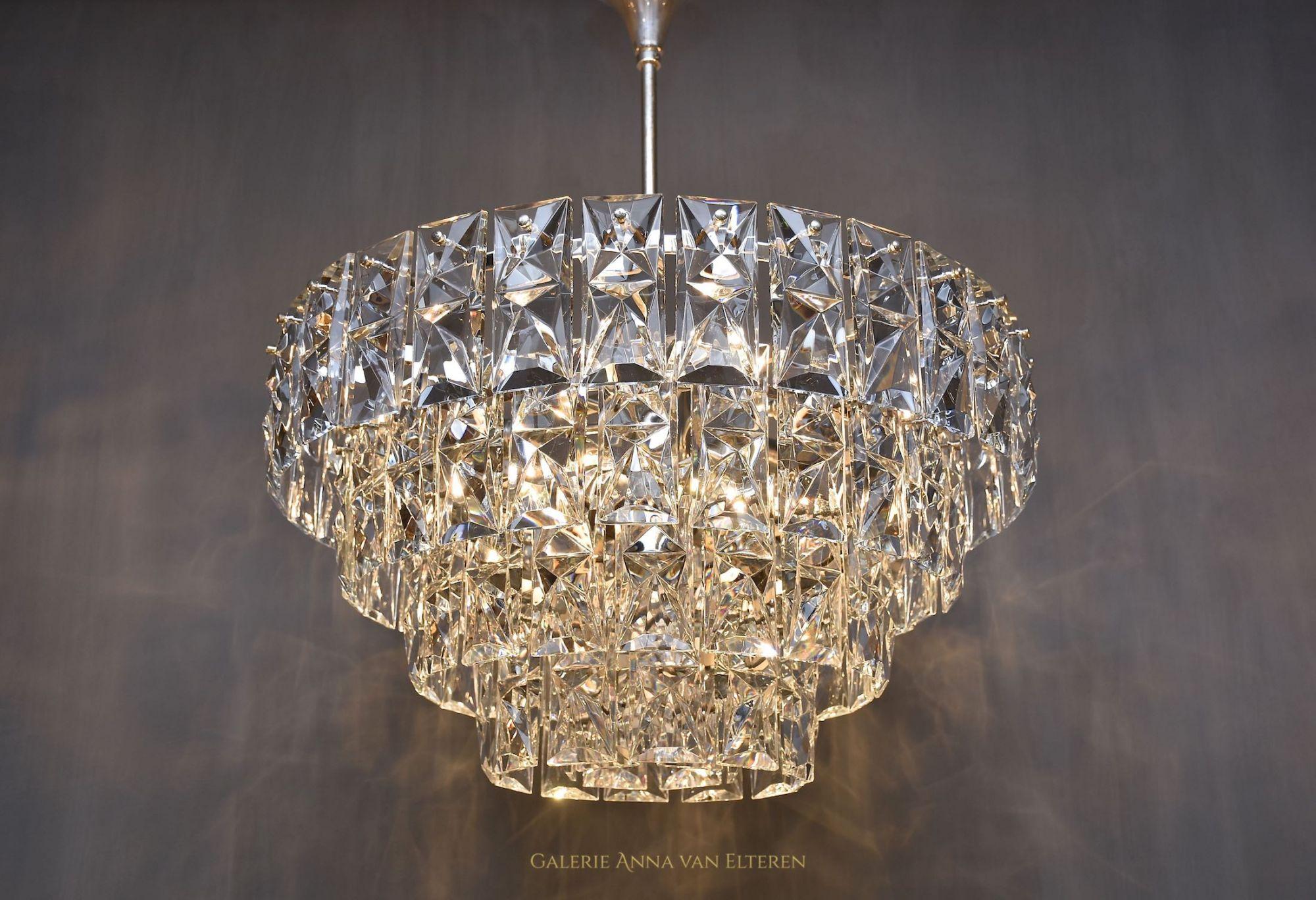 Large Mid Century Crystal Chandelier By Kinkeldey