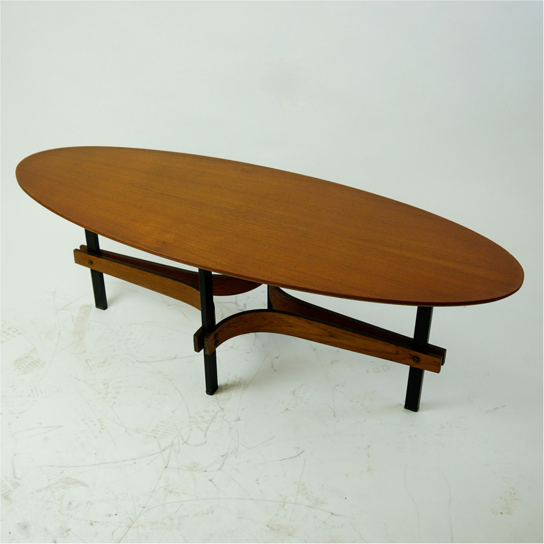 Italian Midcentury Oval Teak And Metal Coffee Table