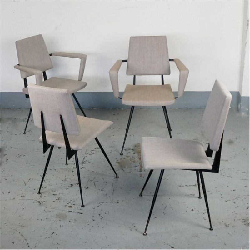 Stupendous Set Of Four Grey Italian Midcentury Black Metal Dining Dailytribune Chair Design For Home Dailytribuneorg