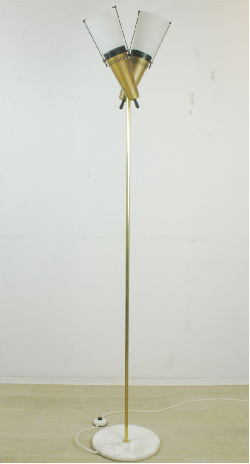 Italian Midcentury Brass Glass And Marble Floor Lamp In The