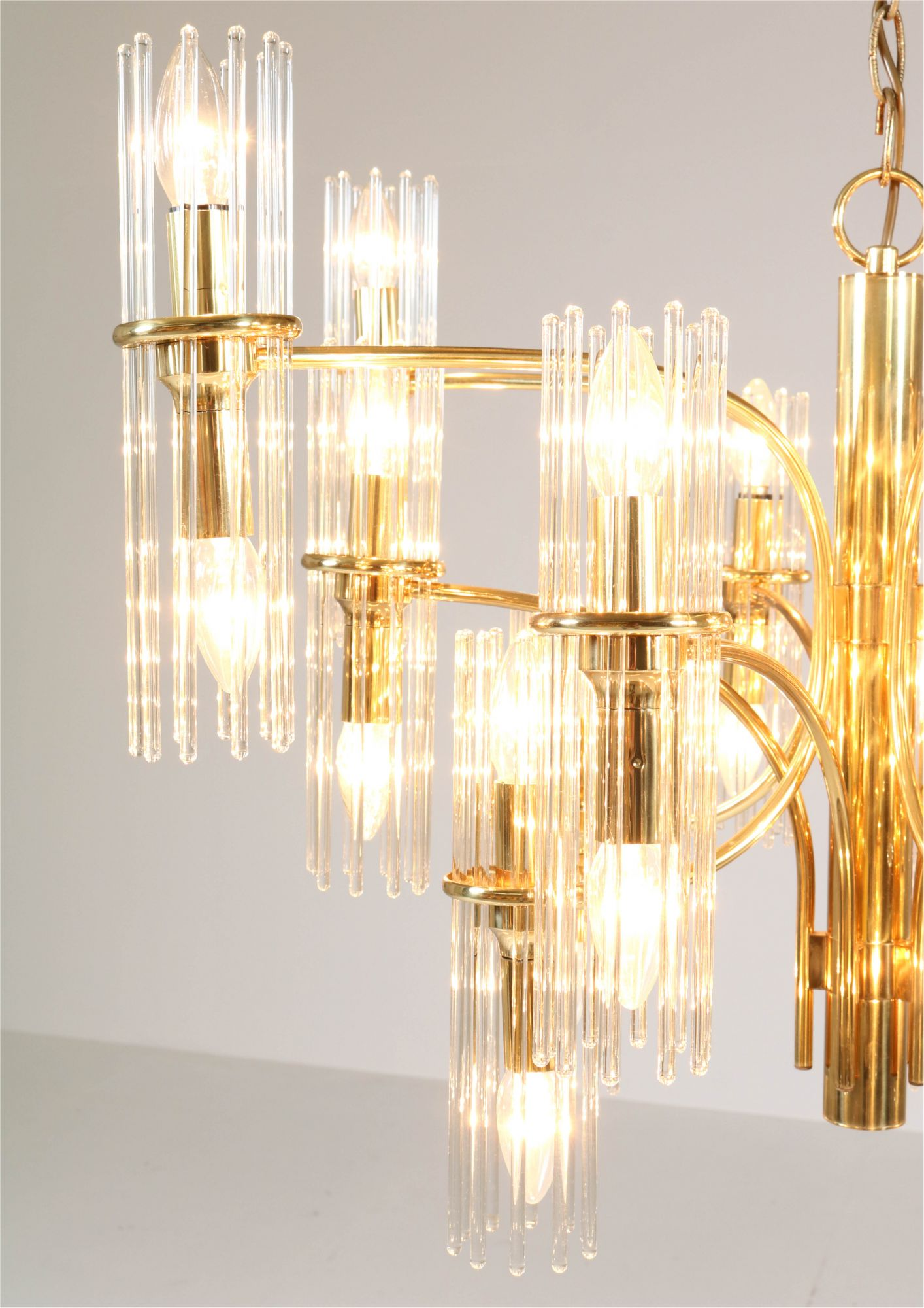 Mid Century Modern Brass Chandelier By Gaetano Sciolari For Lightolier 1960s