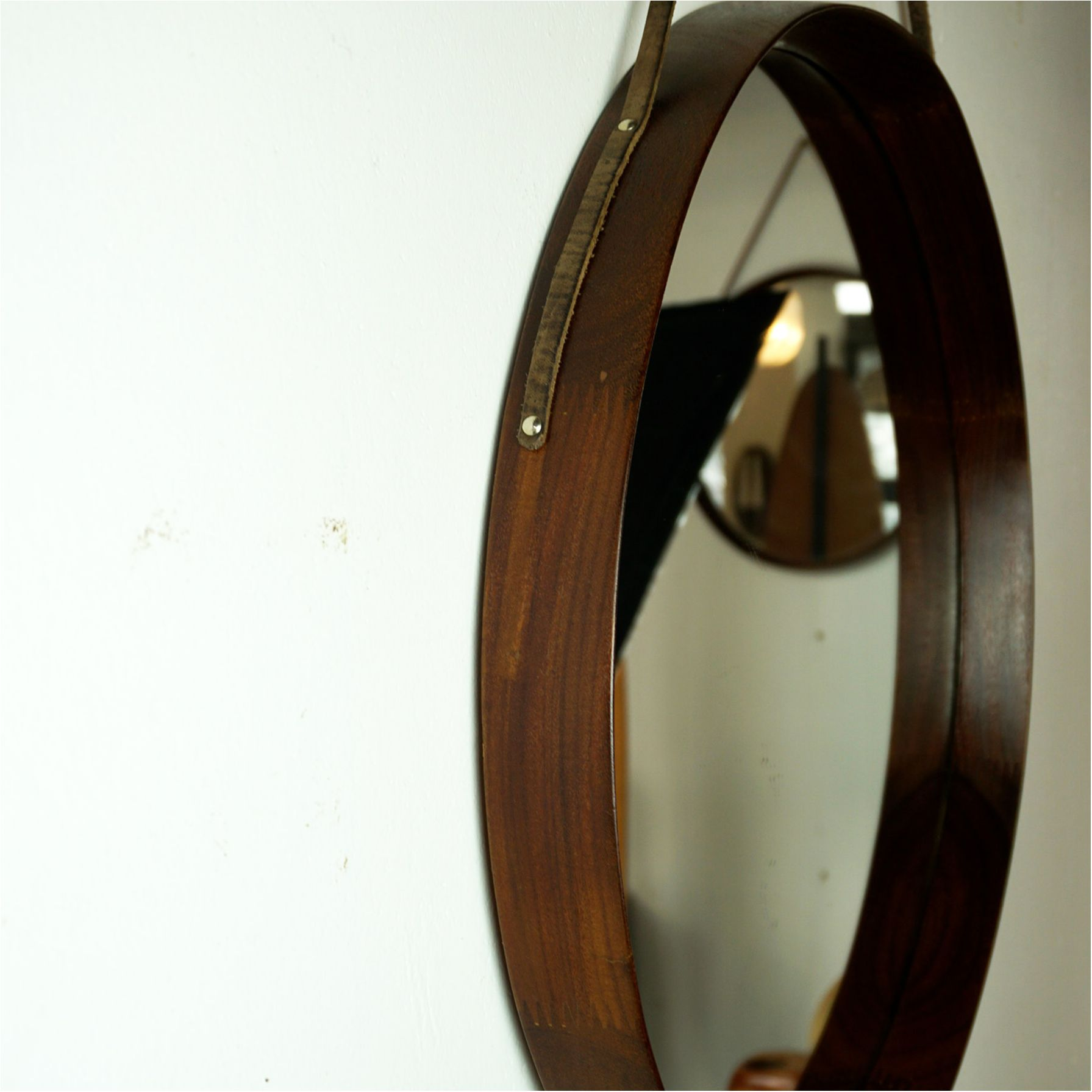 Italian Midcentury Wood And Leather Circular Wall Mirror