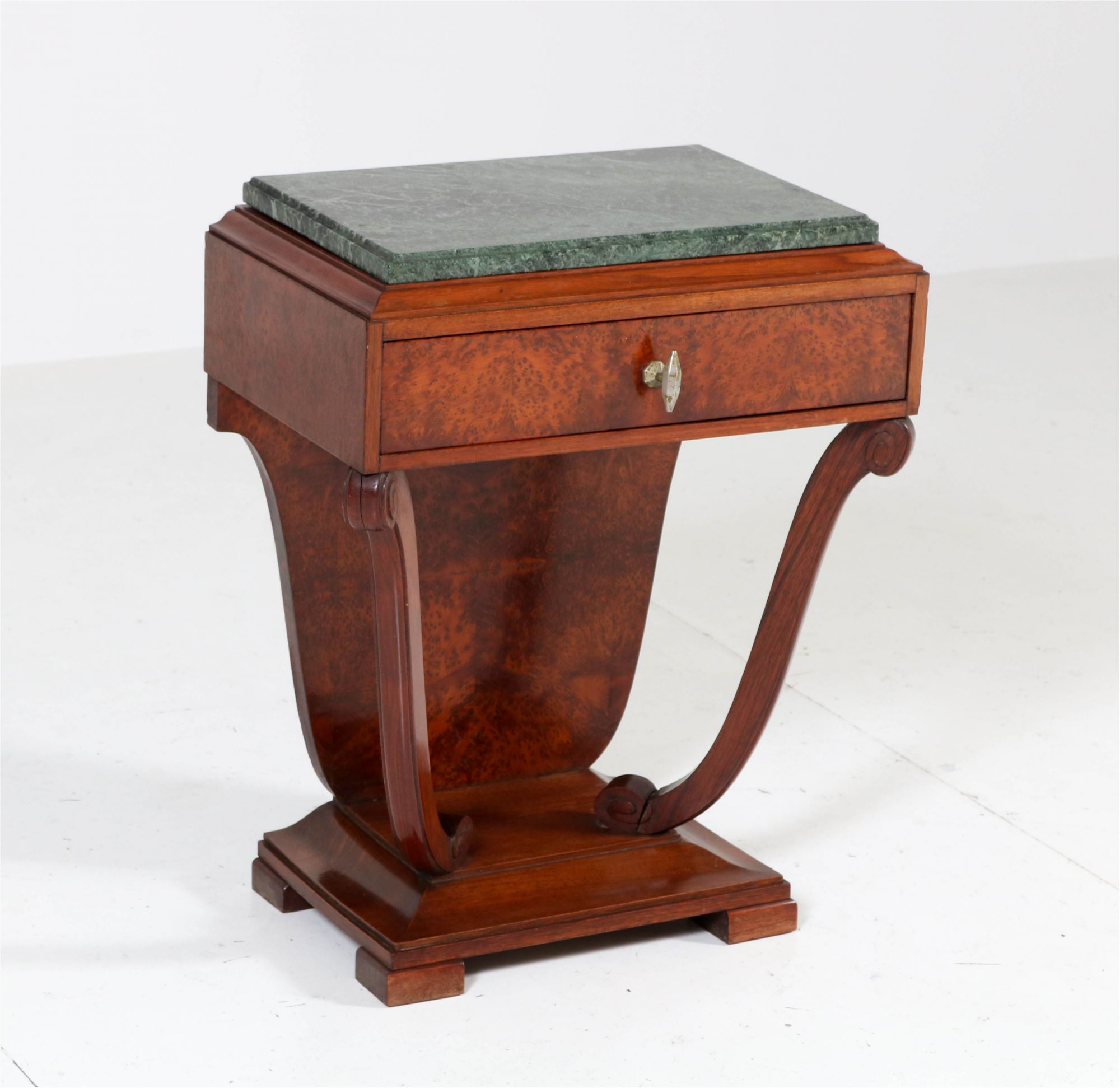 French Art Deco Burl Walnut Nightstand With Patricia Green