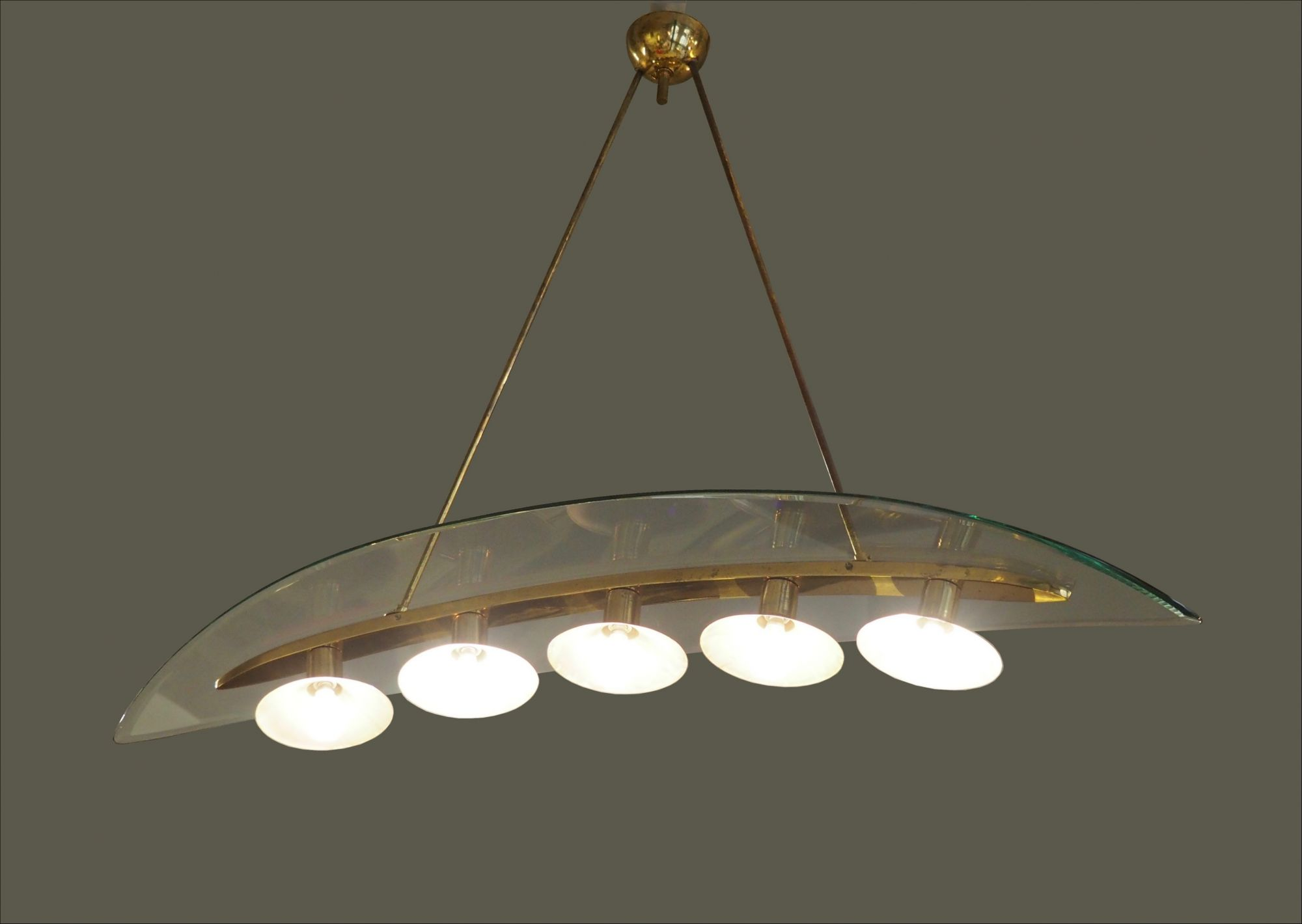 1940s fontana arte pietro chiesa chandelier in glass and brass aloadofball Image collections