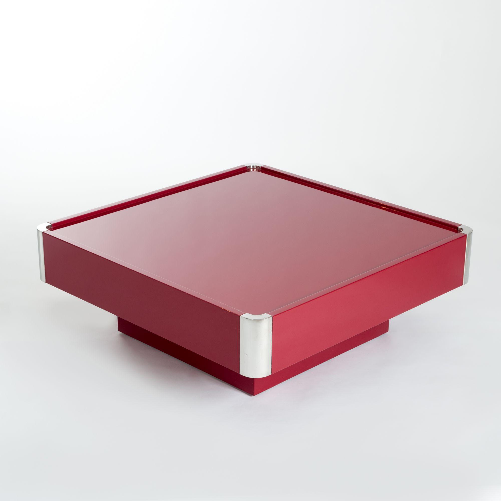 Midcentury Italian Square Dark Red Coffee Table By Mario Sabot