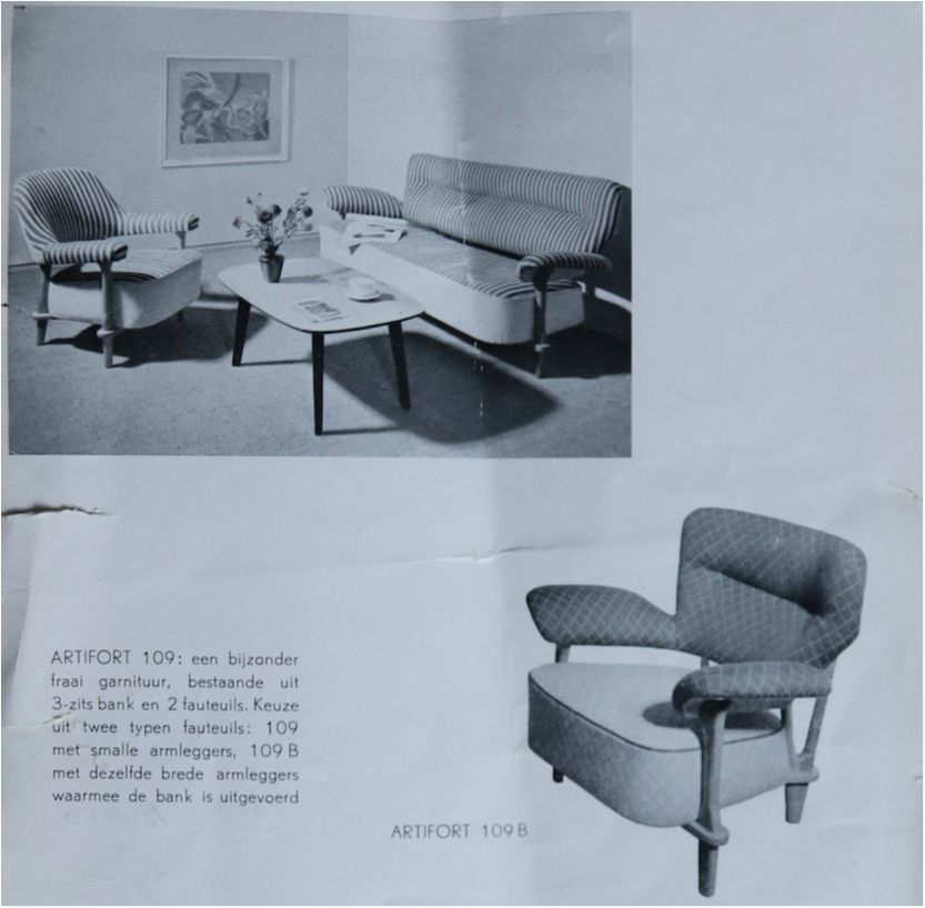 Dutch Design Bank.Rare Three Seat Sofa Model 109 By Theo Ruth For Artifort Dutch