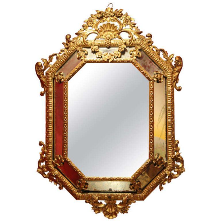 Italian 19th Century Diamond Shape Mercury Mirror in Hand Carved ...