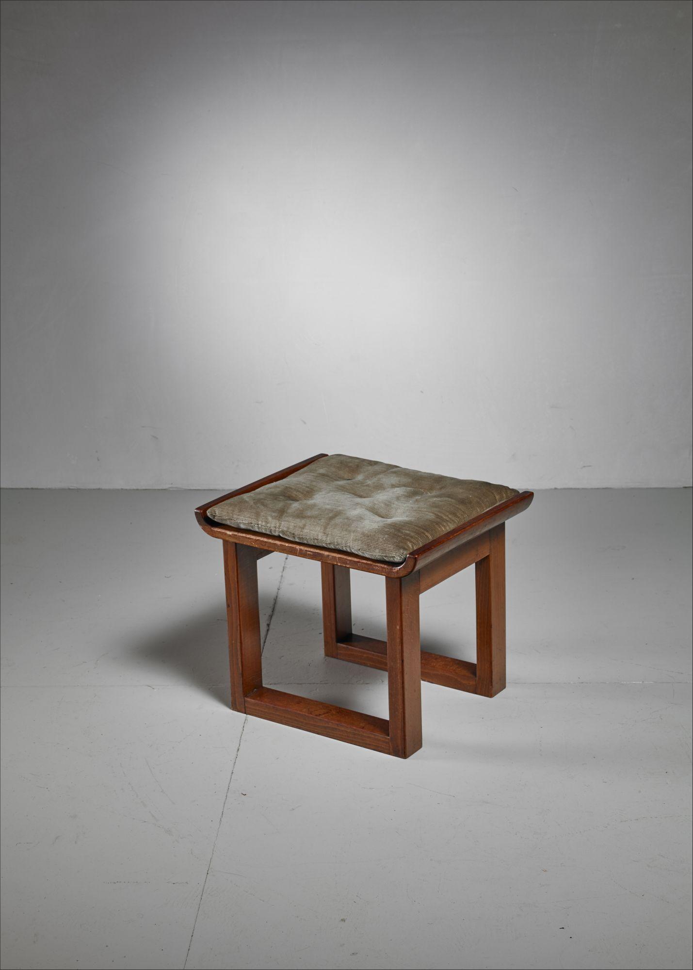 Danish stool or ottoman with cushion 1930s