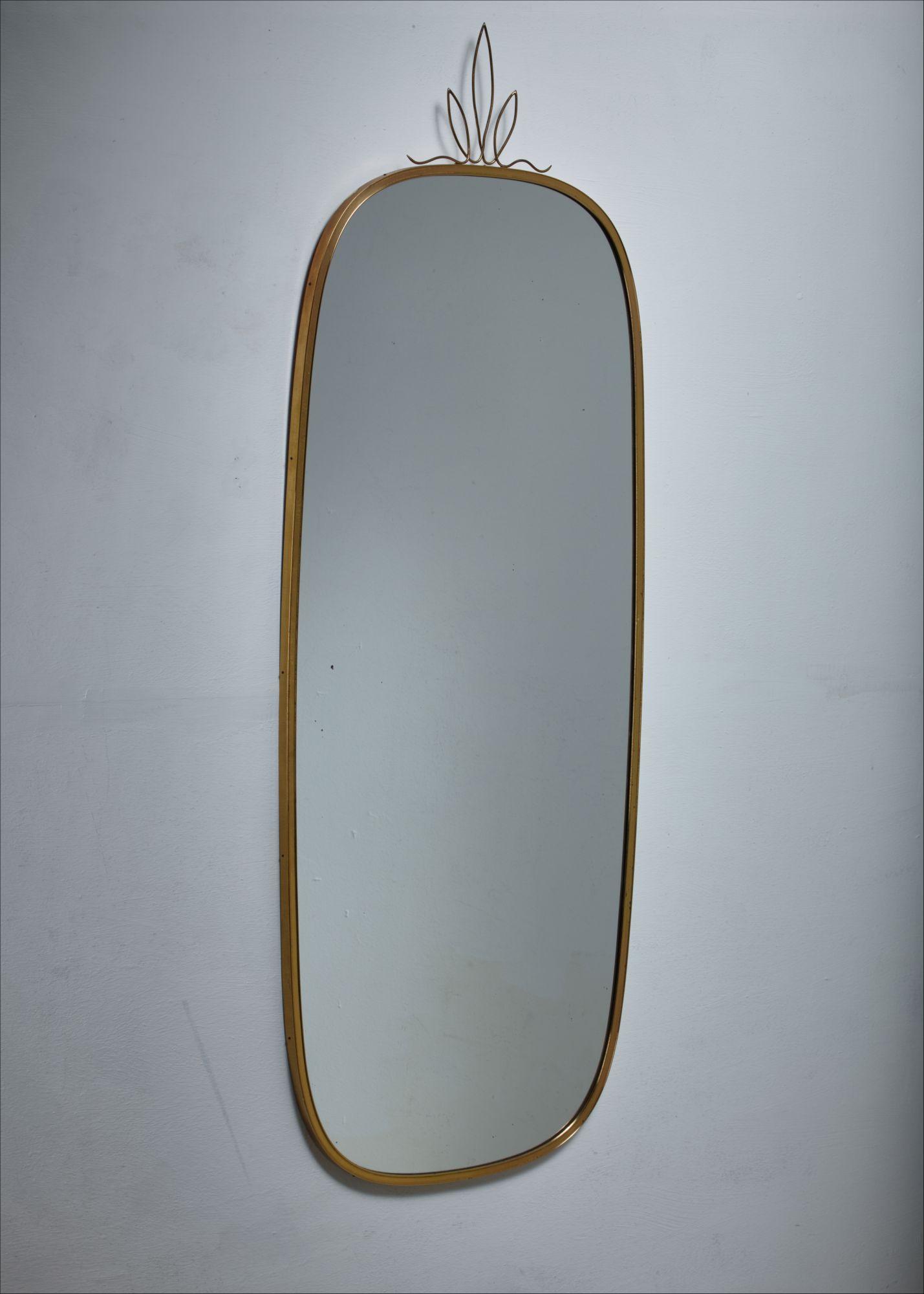 Brass Wall Mirror With Crown Decoration Austria 1950s
