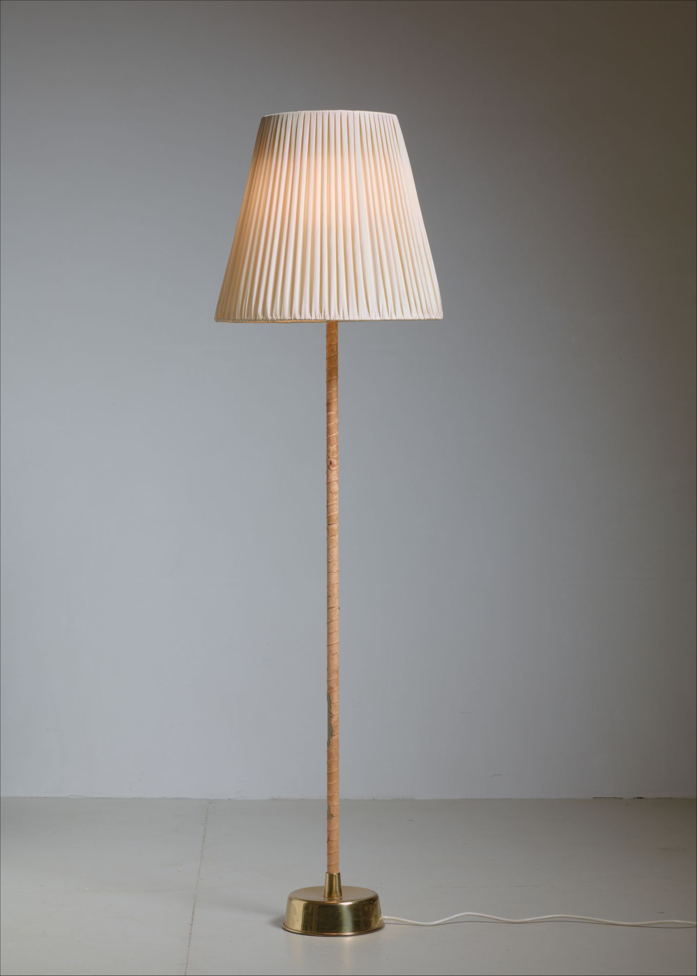 Lisa johansson pape floor lamp with leather stem and pleated fabric lisa johansson pape floor lamp with leather stem and pleated fabric shade 1950 aloadofball Image collections