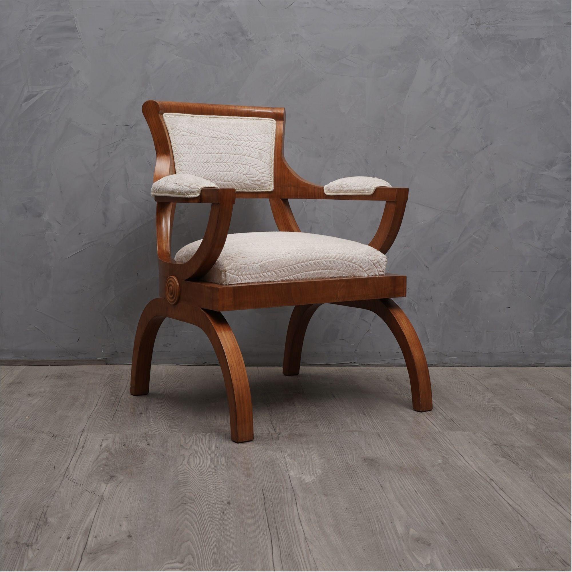 Art Deco Cherrywood and White Velvet Italian Armchair, 1930