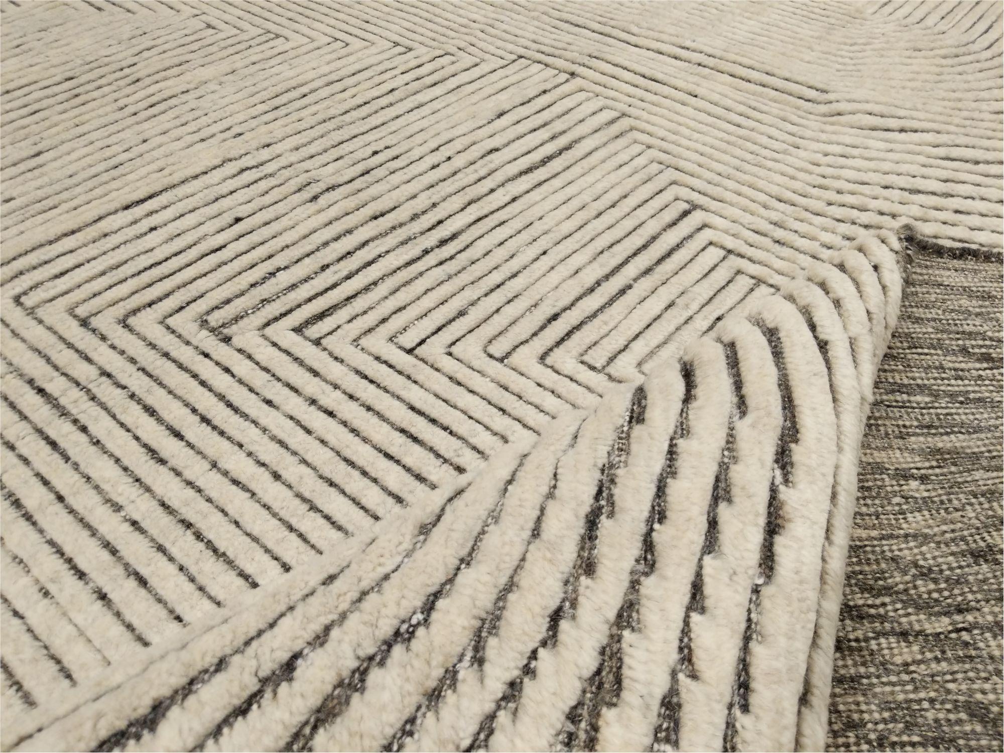 Mid-Century Modern Design Textural Ivory Geometric Zen Garden Rug