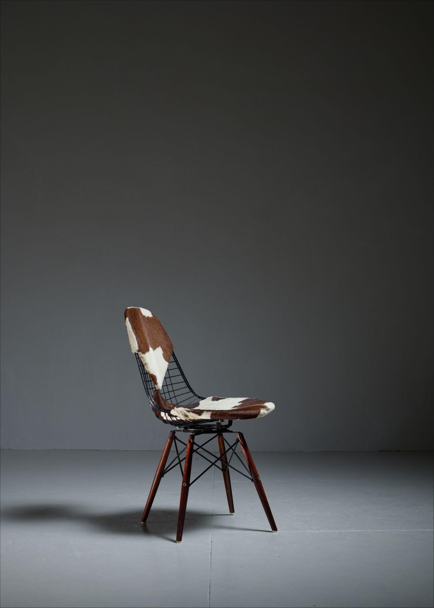 Eames DKW Wire Chair with Unique Cowskin Bikini Seat on Dowel Feet ...