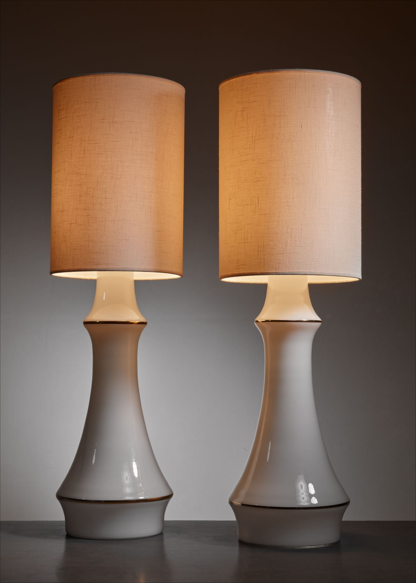 Lisa Johansson Pape Pair Of White Table Lamps For Orno Finland 1950s
