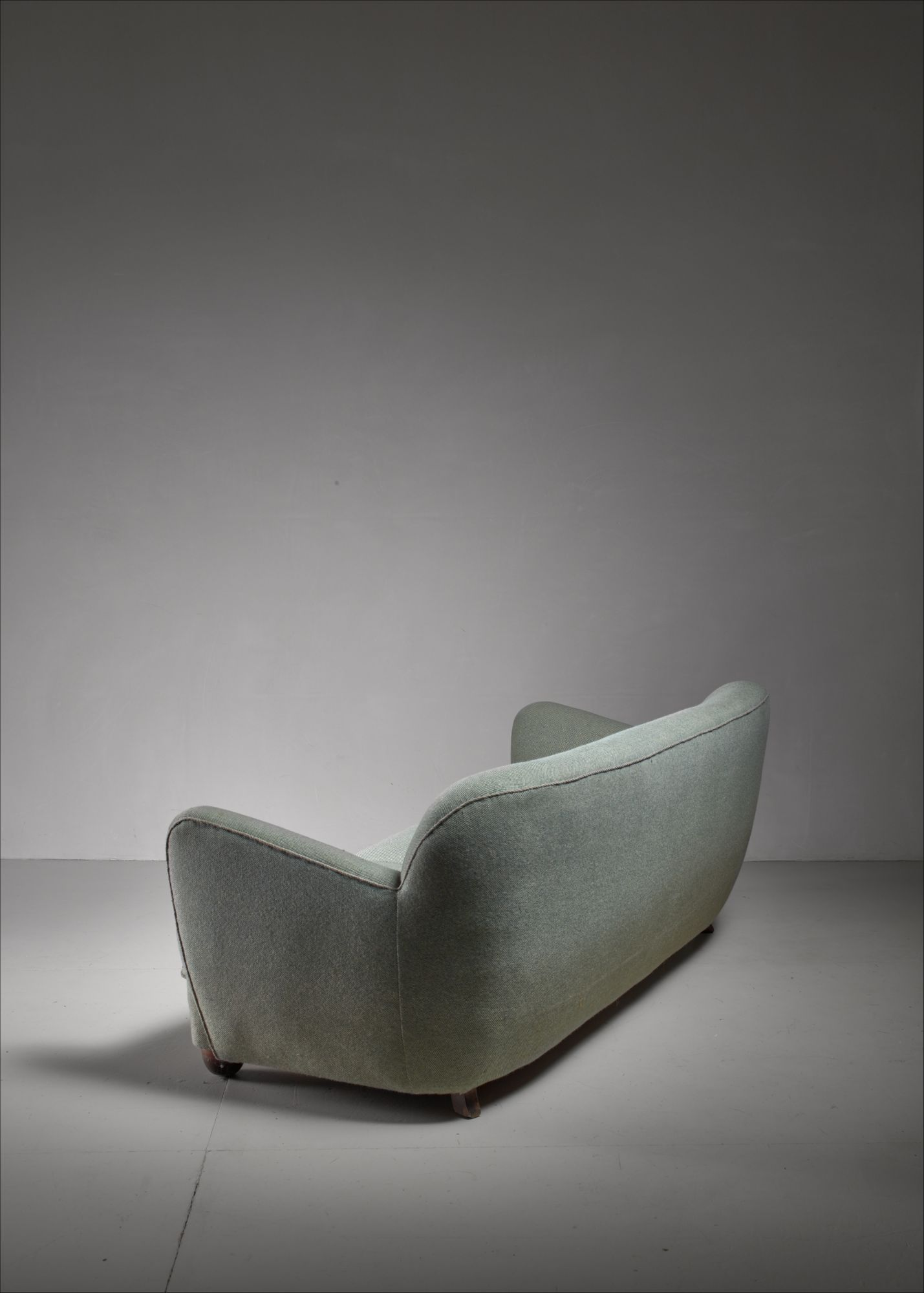 Curved three seat sofa with light blue fabric upholstery denmark 1930s