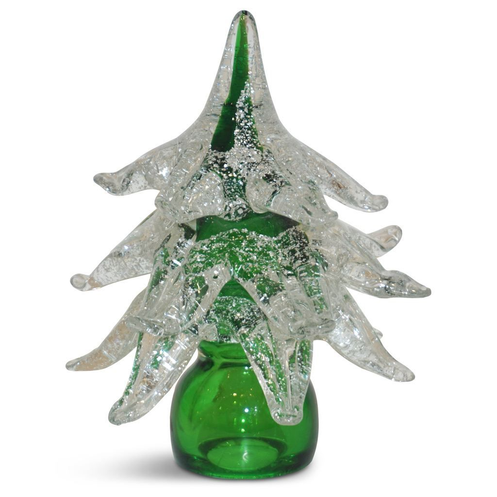 Formia Italian Vintage Green And Silver Murano Glass Christmas Tree Sculpture