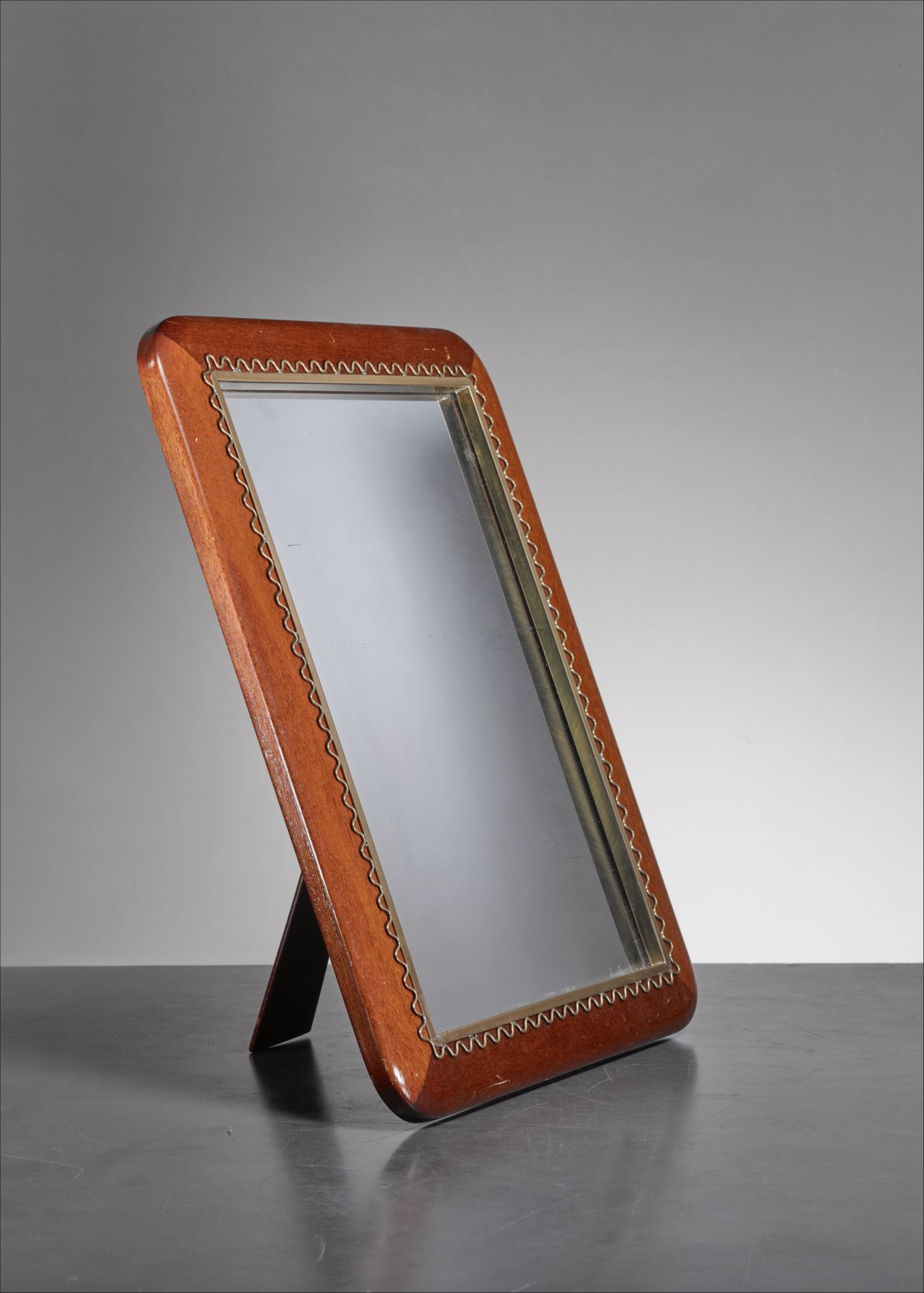 Josef Frank Mahogany And Brass Table Or Wall Mirror Sweden 1950s