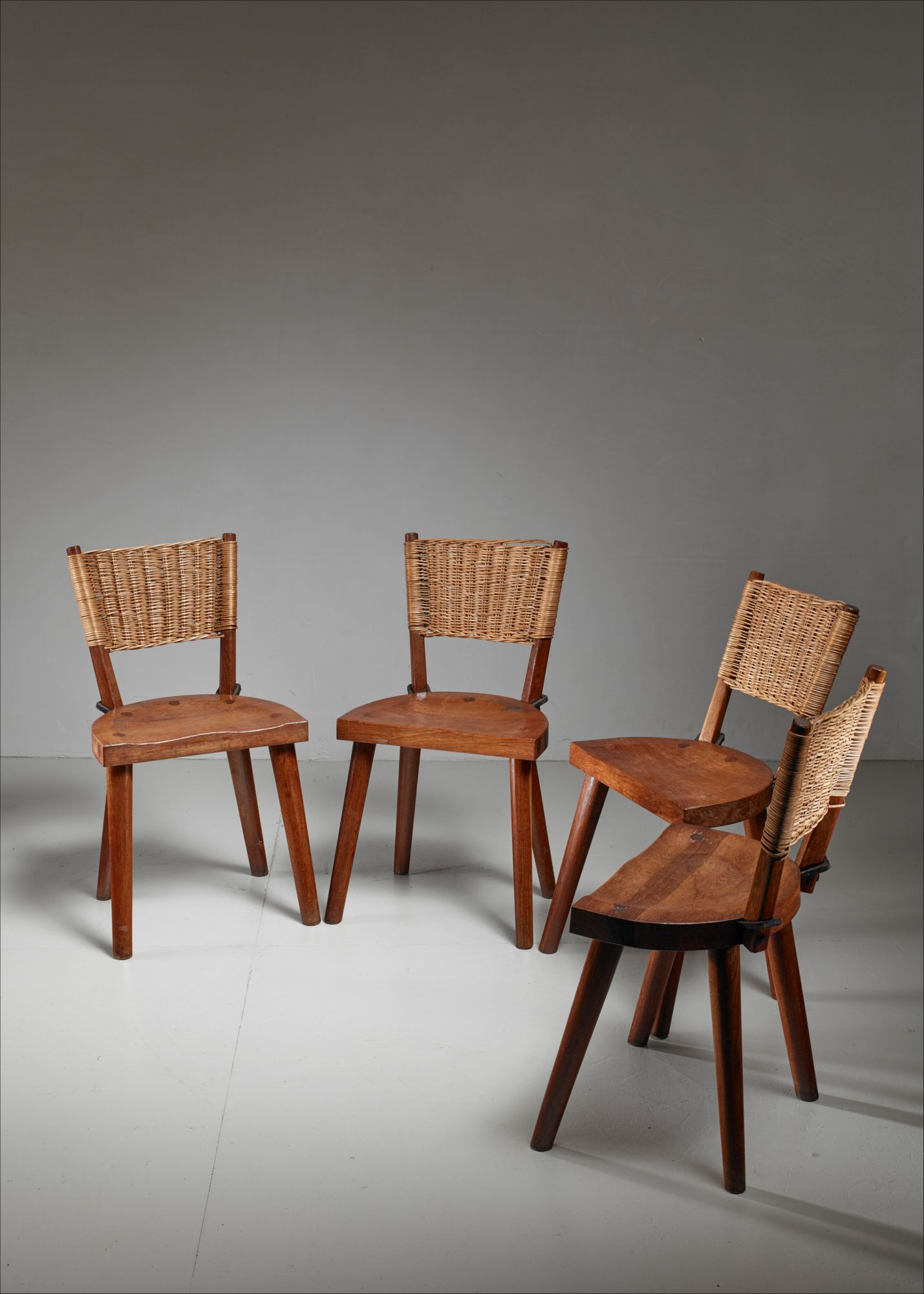 Jean Touret Set Of Four Oak And Cane Dining Chairs For Marolles France 1950s