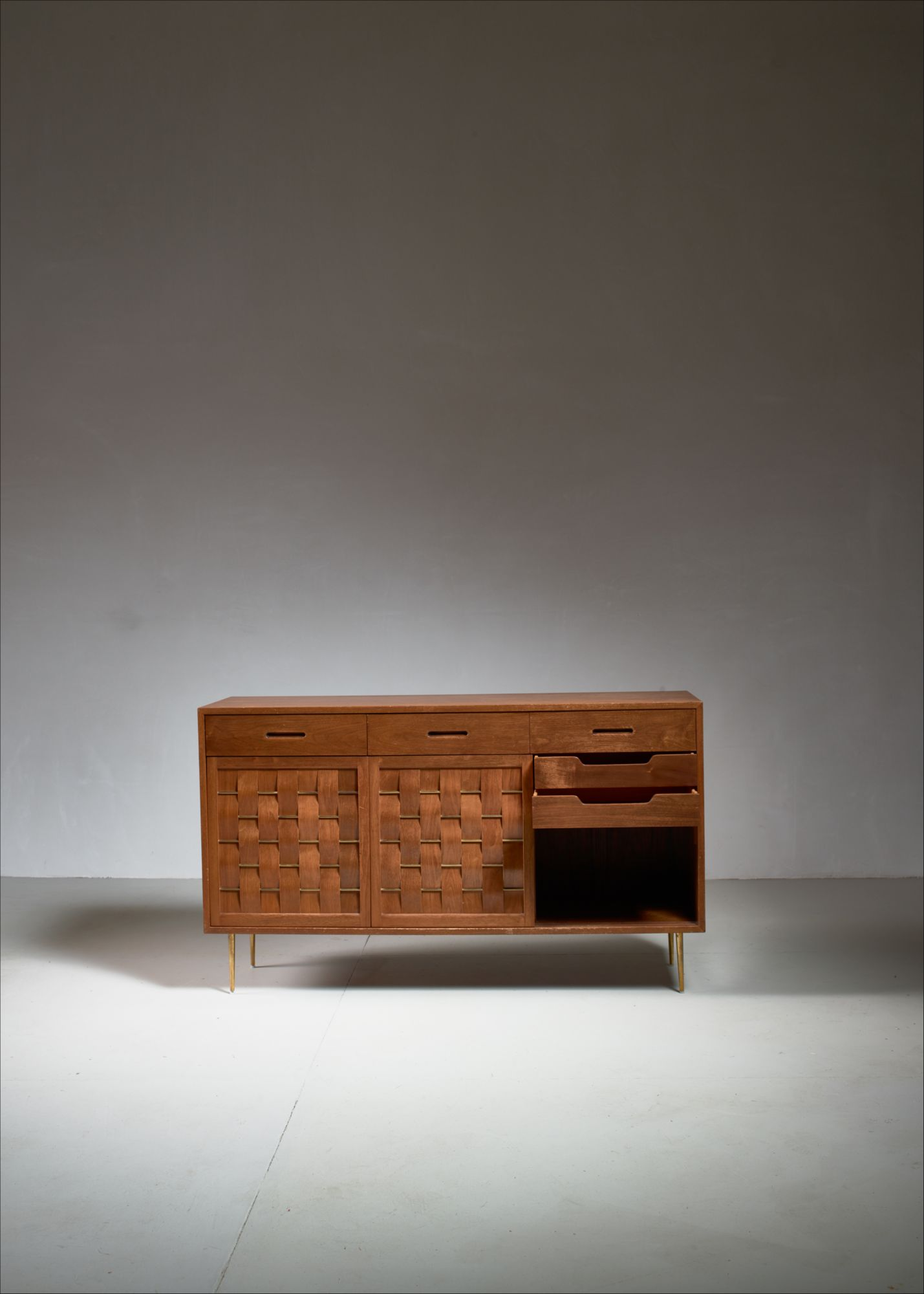 Edward Wormley Woven Credenza With Brass Legs And Details
