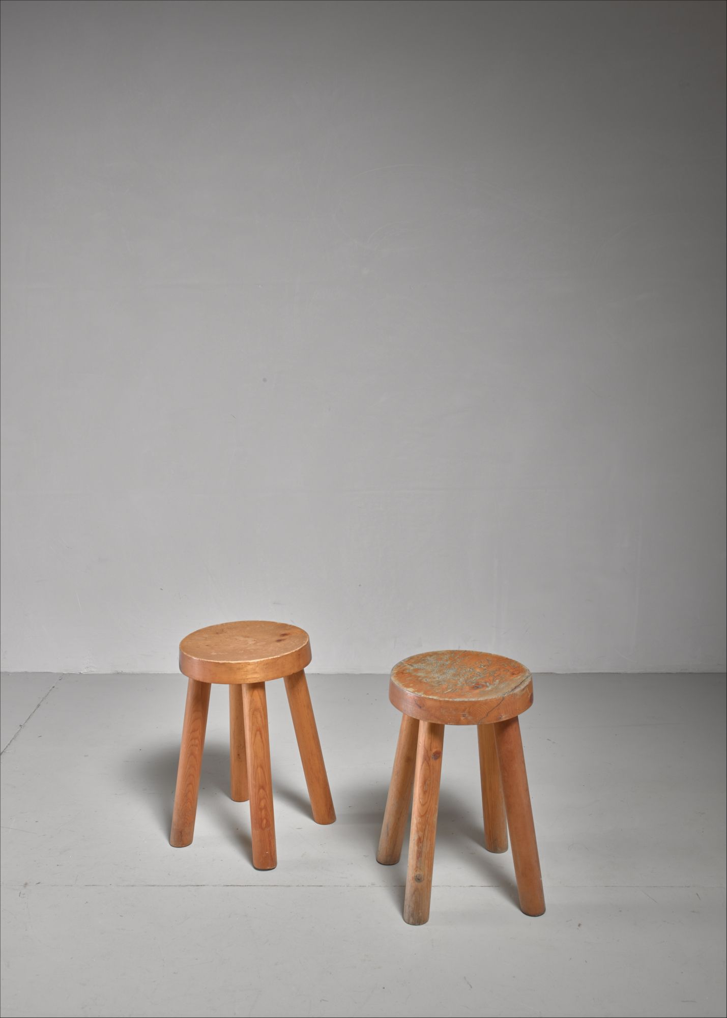Phenomenal Charlotte Perriand Pair Of Four Legged Pine Stools France Ibusinesslaw Wood Chair Design Ideas Ibusinesslaworg