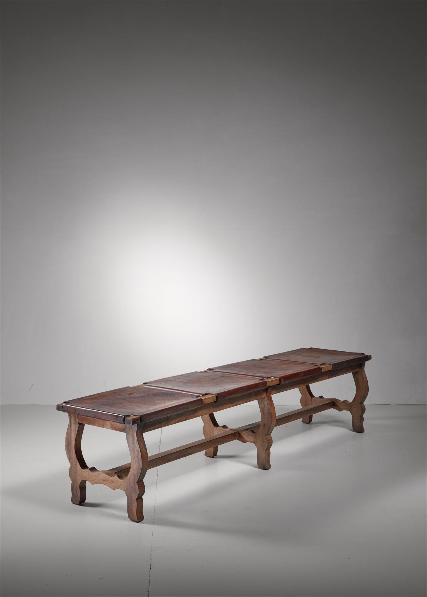 Oak And Leather Bench Italy 19th Century