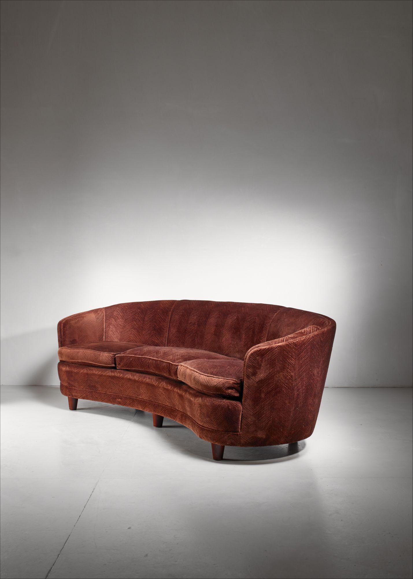 Large curved, brown Scandinavian sofa, 1940s