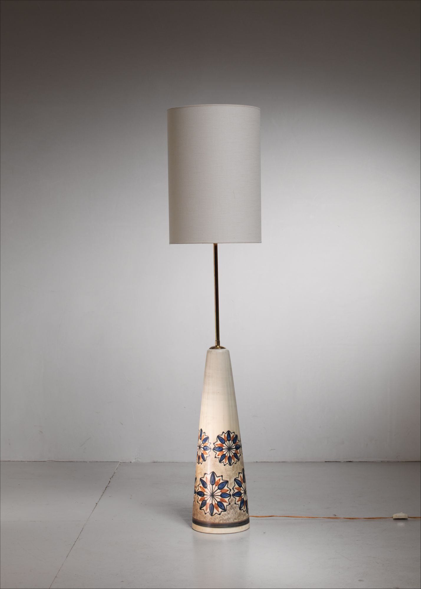 Soholm Ceramic Floor Lamp With Floral Motif Denmark 1960s
