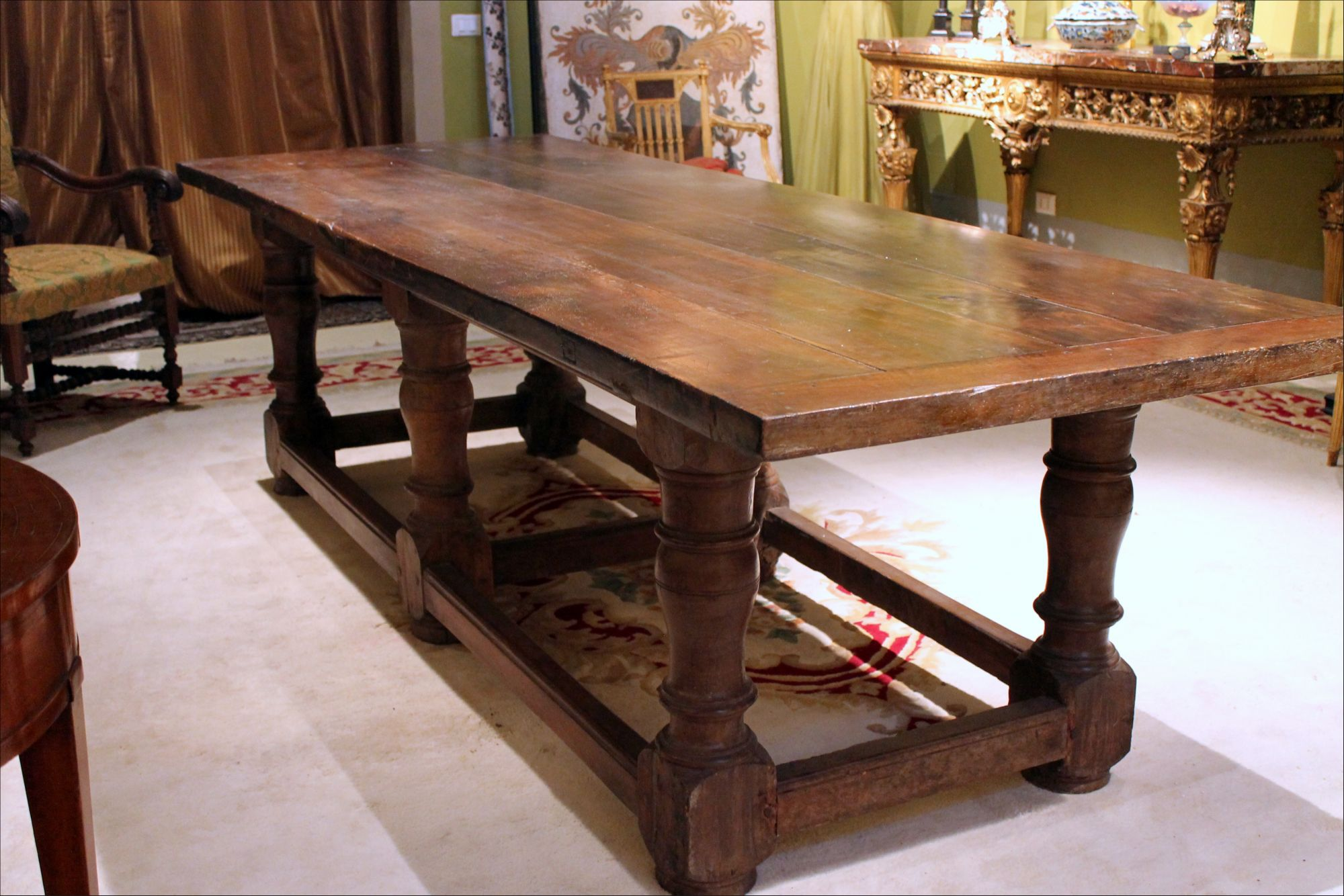 Italian 17th Century Walnut Wood Rustic Farm Trestle Dining Table