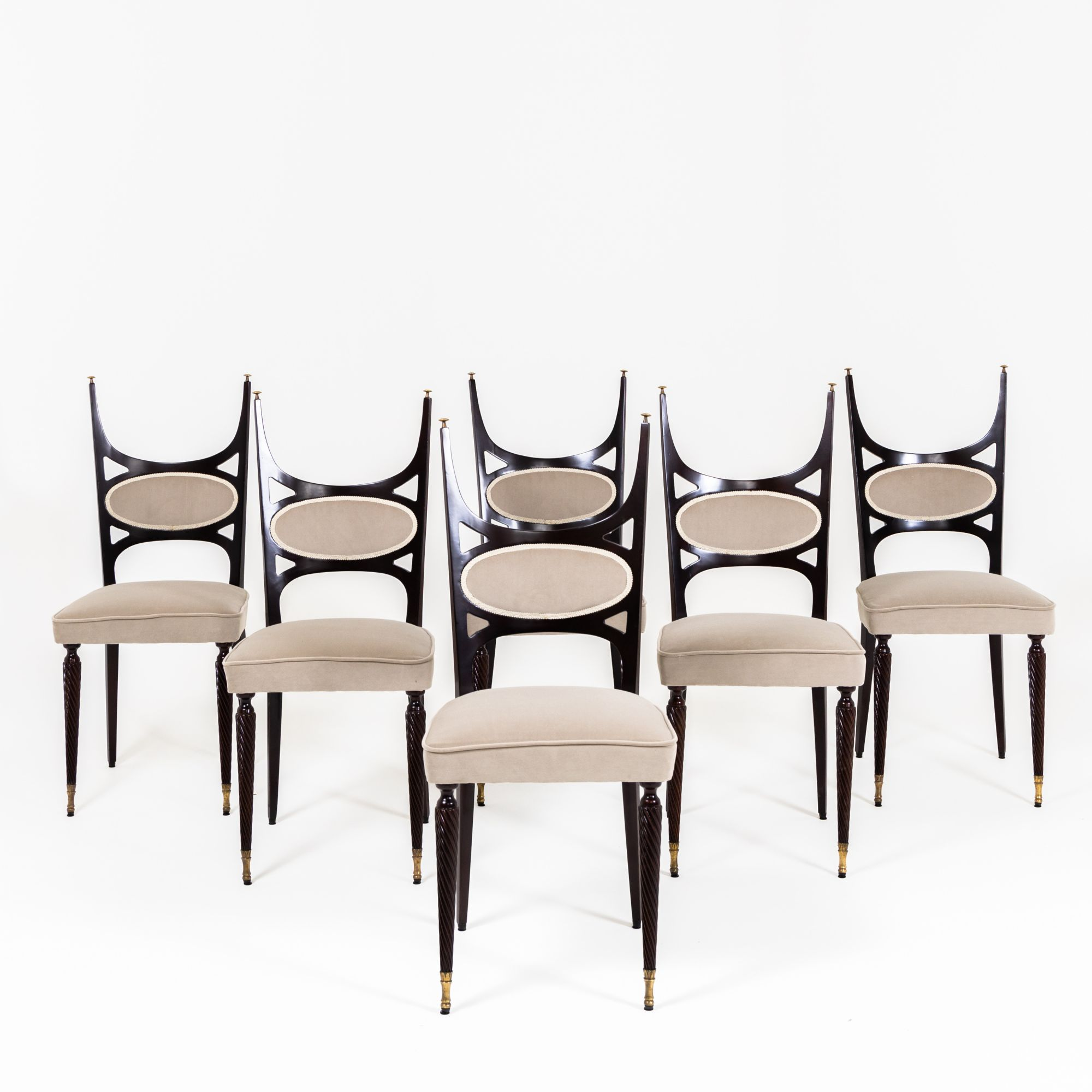 Paolo Buffa style dining chairs, Italy 9s