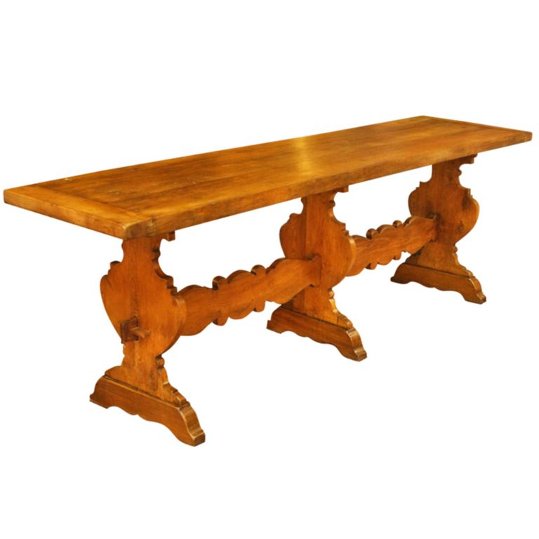 Italian 19th Century Walnut Wood Rustic Farm Trestle Dining Table