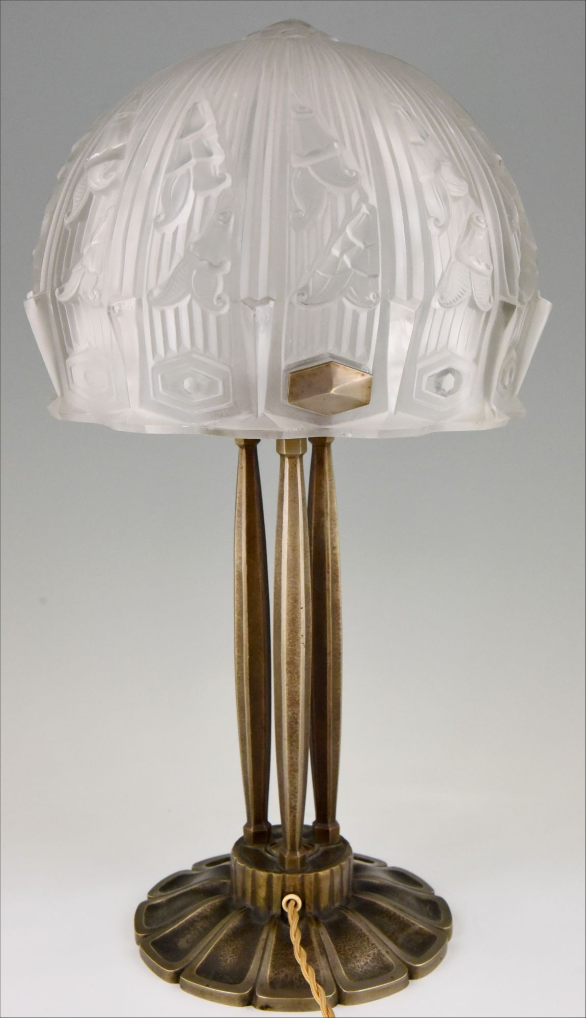 Art Deco Glass And Bronze Desk Or Table Lamp Rm France 1930