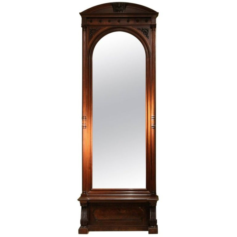 19th Century English Greek Revival Hand Carved Rosewood Full Length Floor Mirror