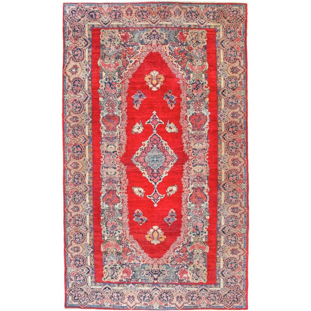 Persian Rug Sarouk Oversize Red Blue Hand Knotted Semi