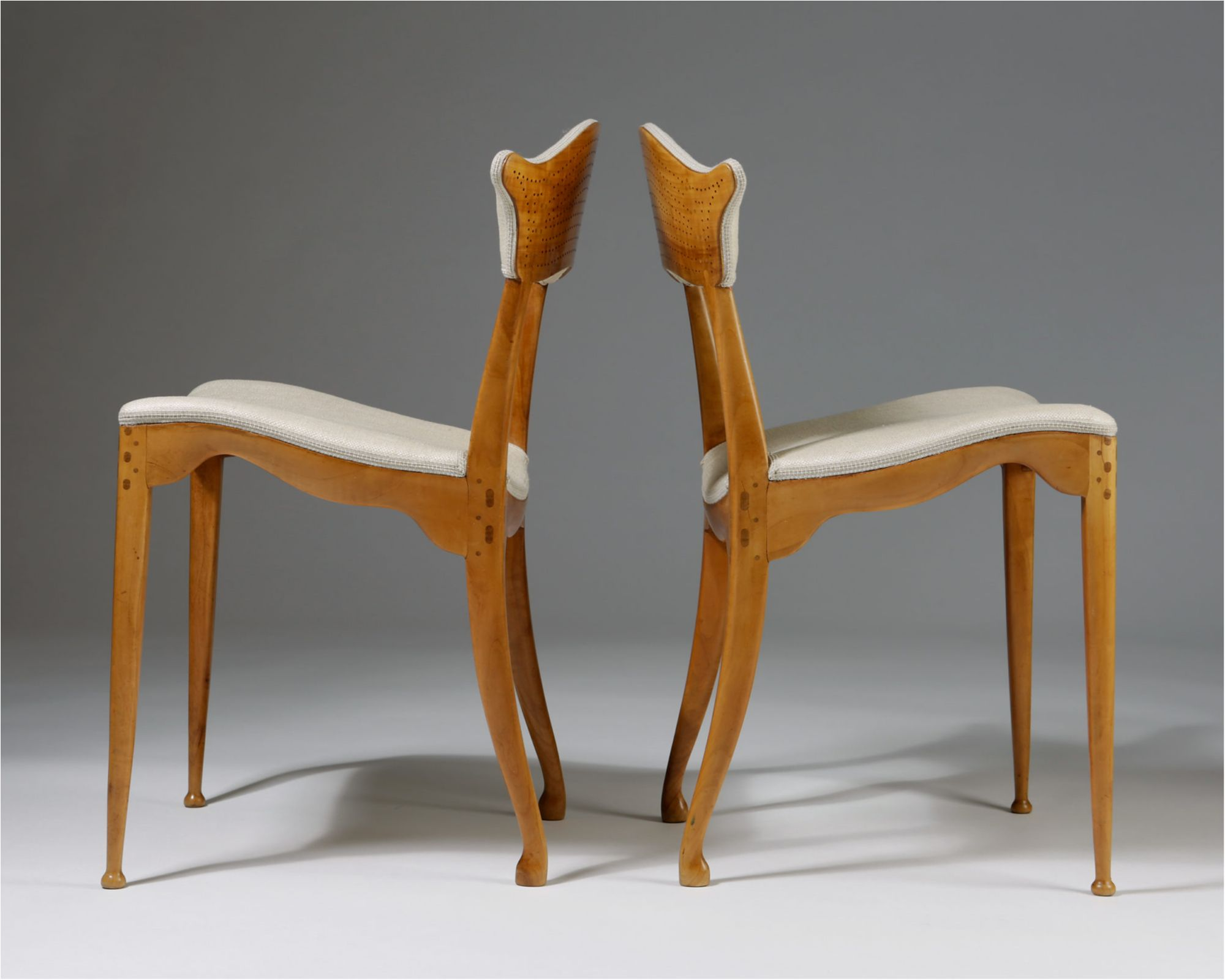 Danish Mid Century Modern Pair Of Pierced Back Chairs By