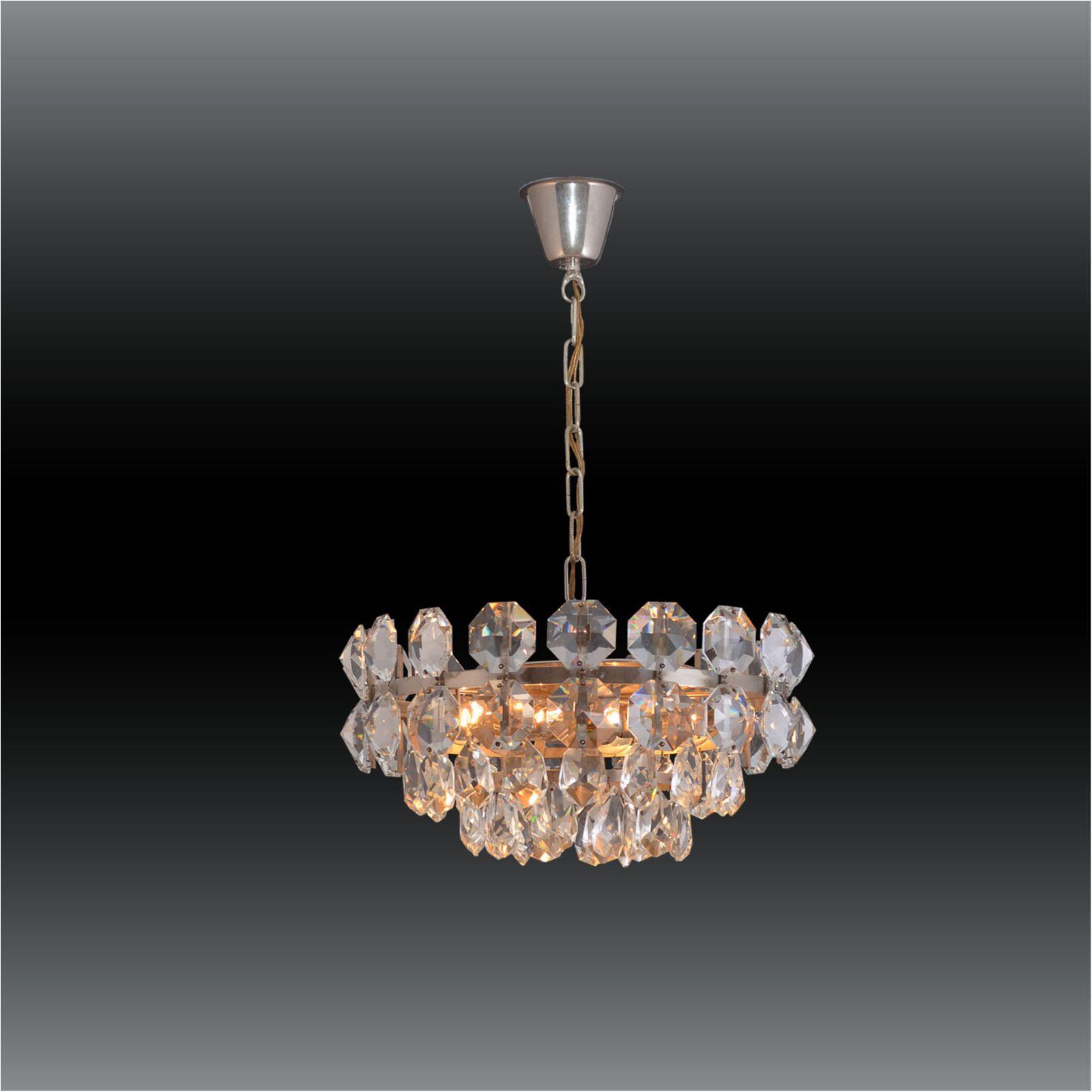 Mid Century Modern Crystal Glass Chandelier 1960