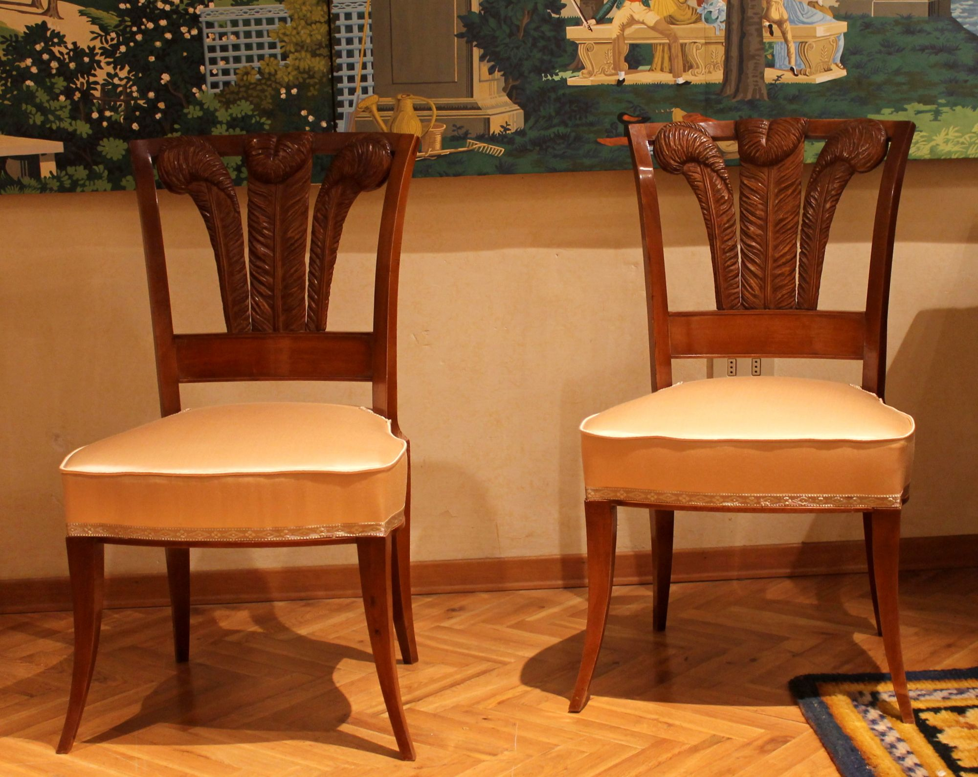 Cool Pair Of Italian 19Th Century Walnutwood Dining Chairs With Pabps2019 Chair Design Images Pabps2019Com