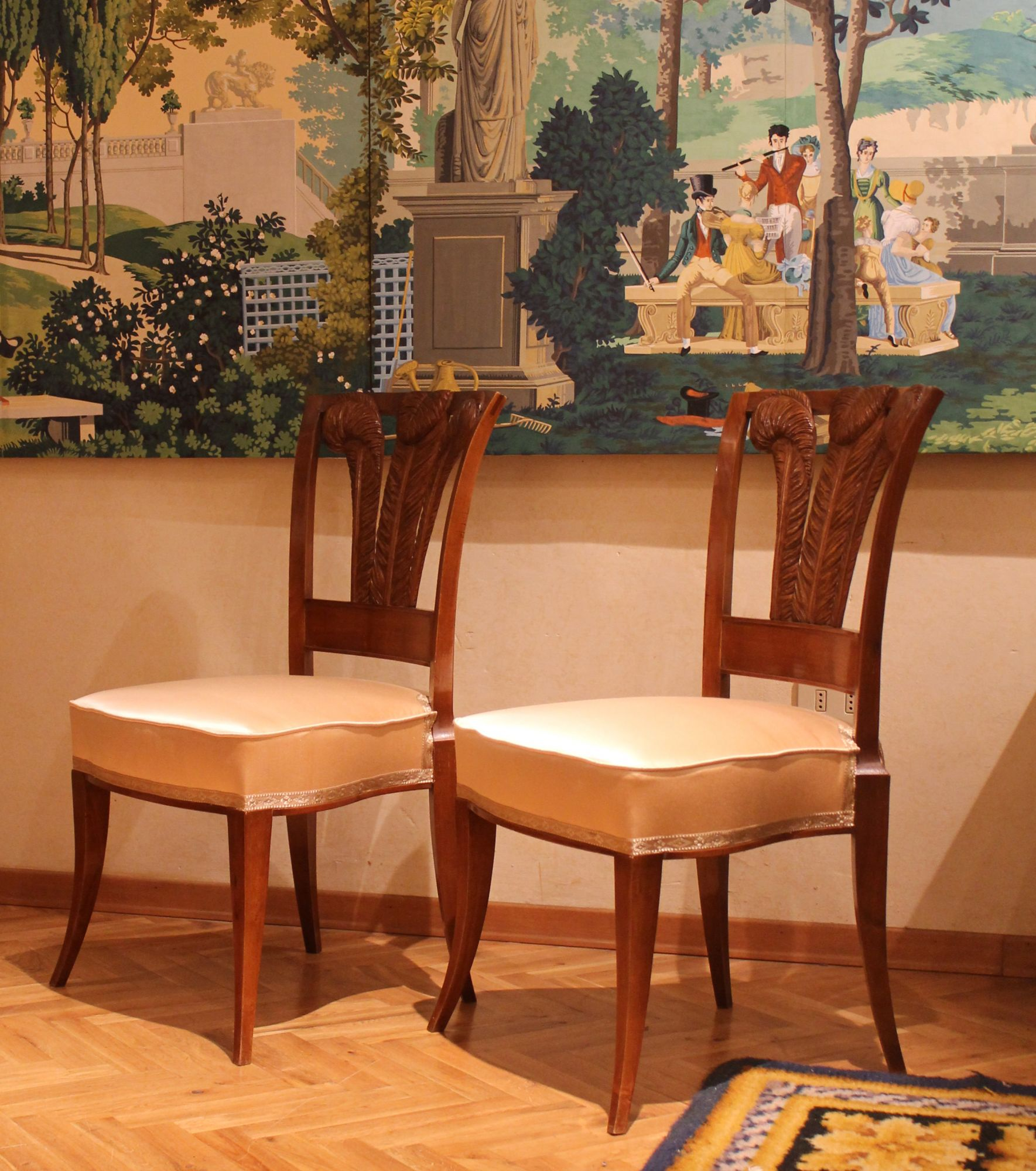 Awesome Pair Of Italian 19Th Century Walnutwood Dining Chairs With Pabps2019 Chair Design Images Pabps2019Com