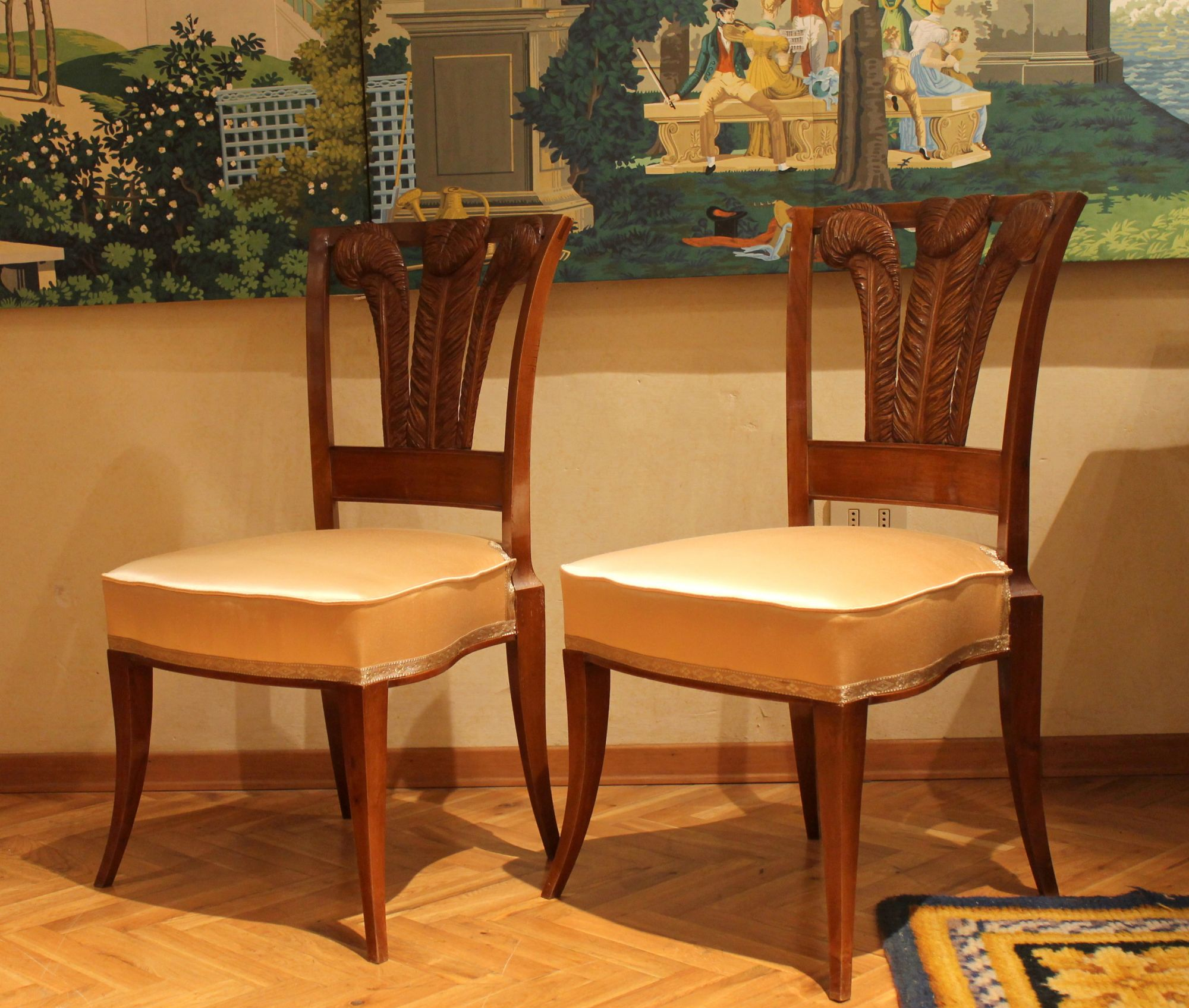 Super Pair Of Italian 19Th Century Walnutwood Dining Chairs With Pabps2019 Chair Design Images Pabps2019Com