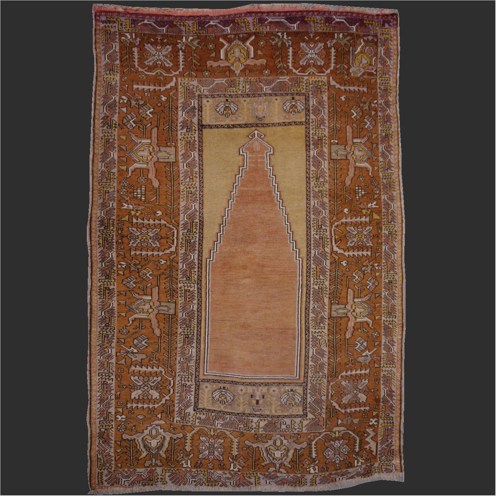 Turkish Distressed Antique Prayer Rug With Industrial Look