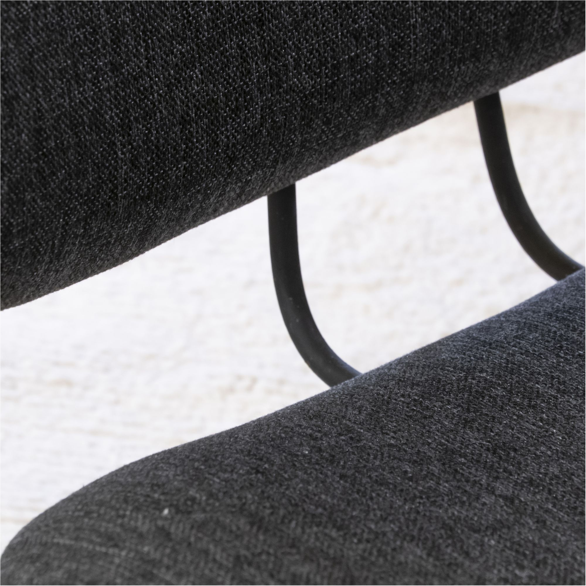 Excellent Pair Of Lounge Chairs Black Steel And Dark Grey Fabric Pabps2019 Chair Design Images Pabps2019Com