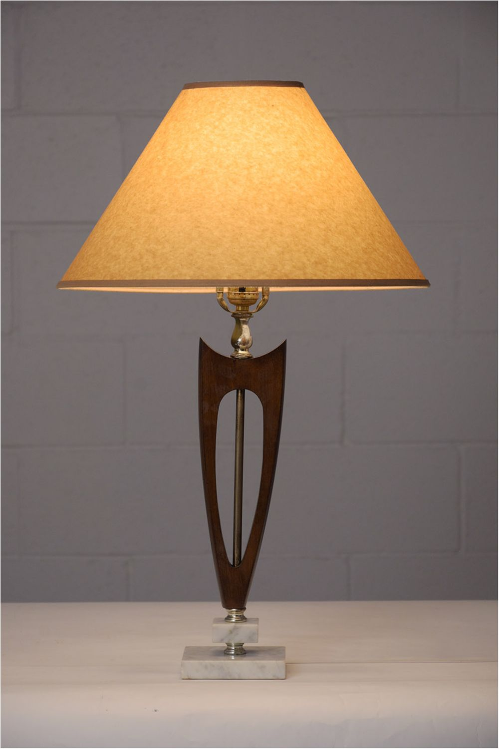Pair Of Mid Century Modern Wood Marble Table Lamps