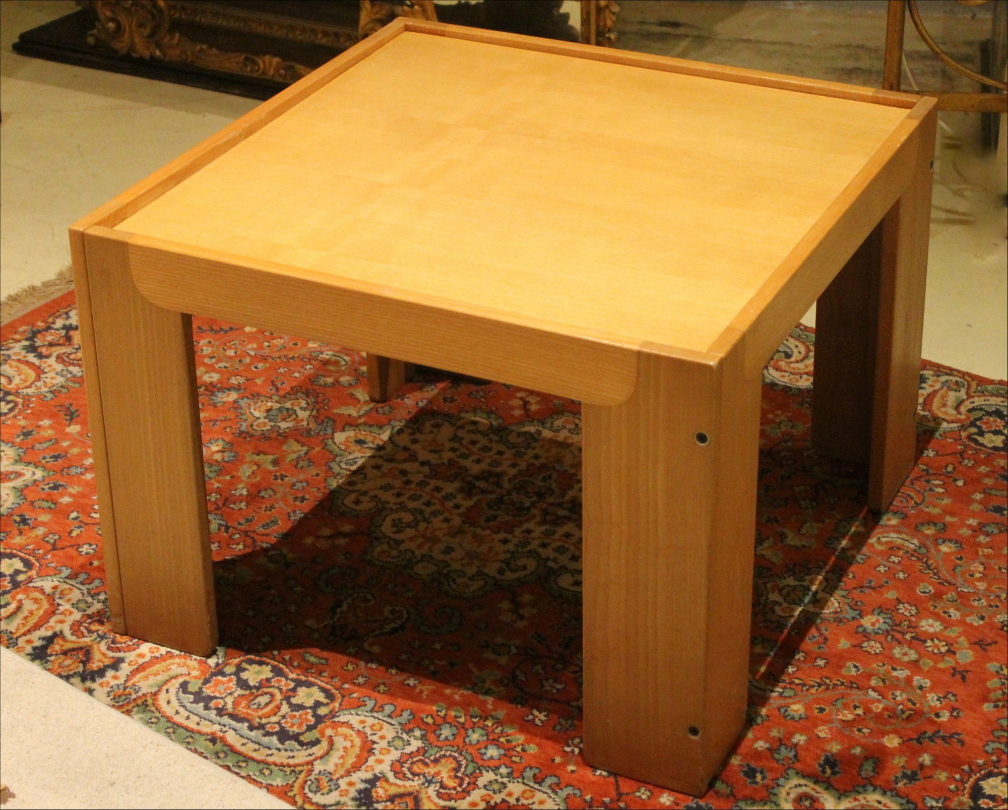 Cassina Mid Century Modern Italian Design Square Light Wood Coffee Table