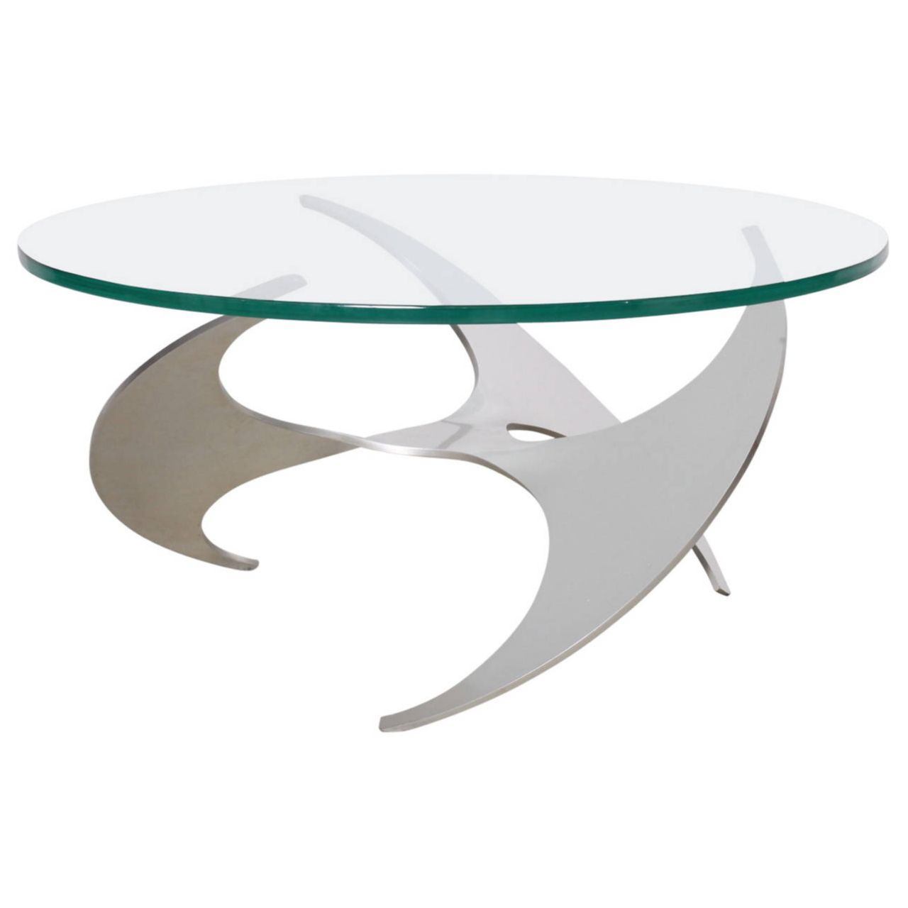 Aluminum And Glass Propeller Coffee Table By Knut Hesterberg