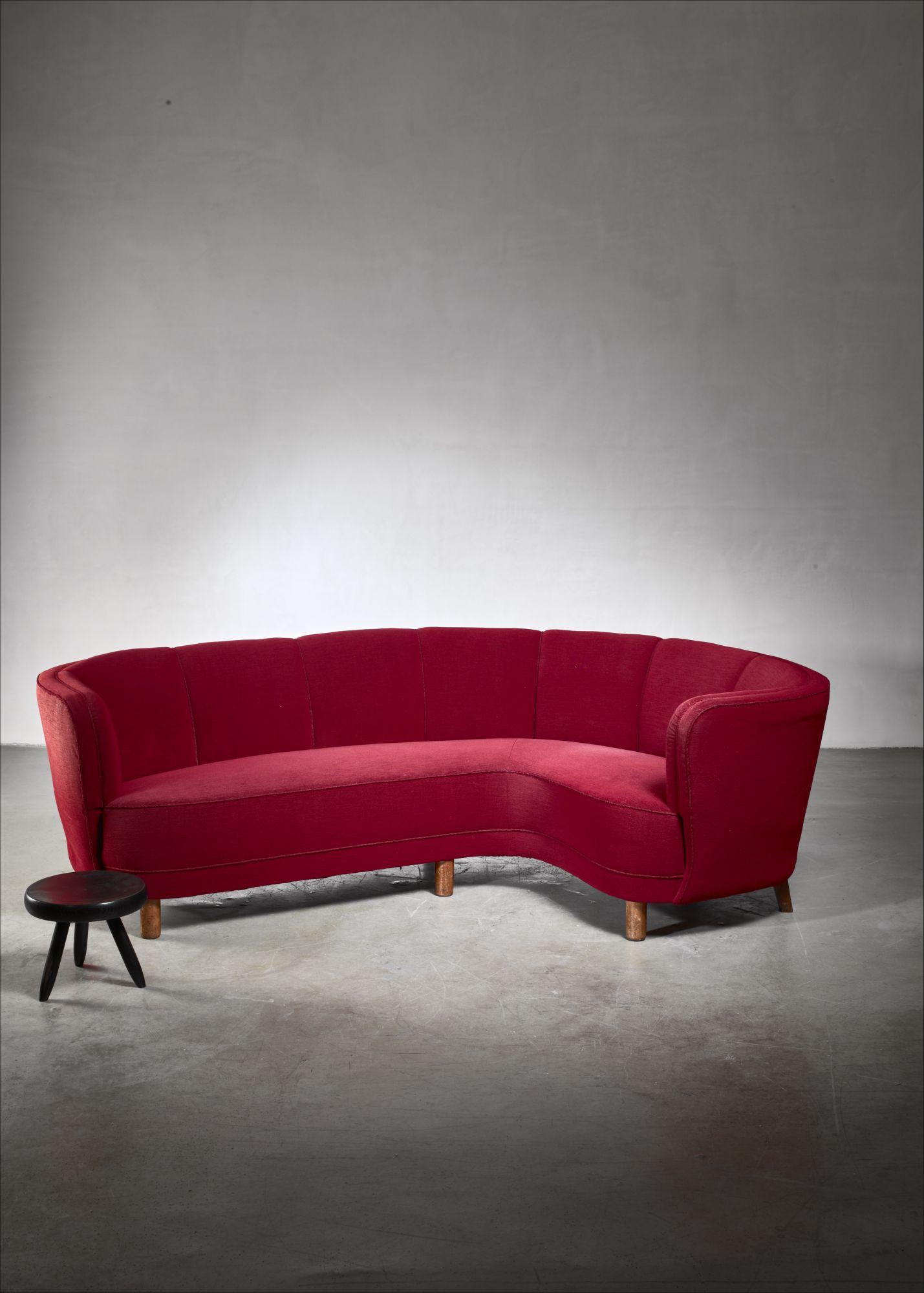 Dark red large Danish corner sofa, 1930s