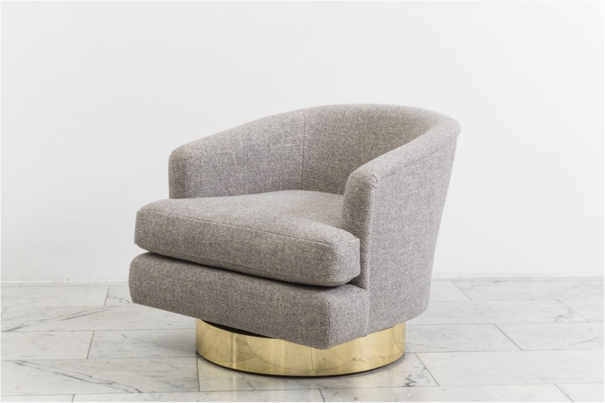 Remarkable Milo Baughman Pair Of Grey Tweed Swivel Chairs With Brass Creativecarmelina Interior Chair Design Creativecarmelinacom